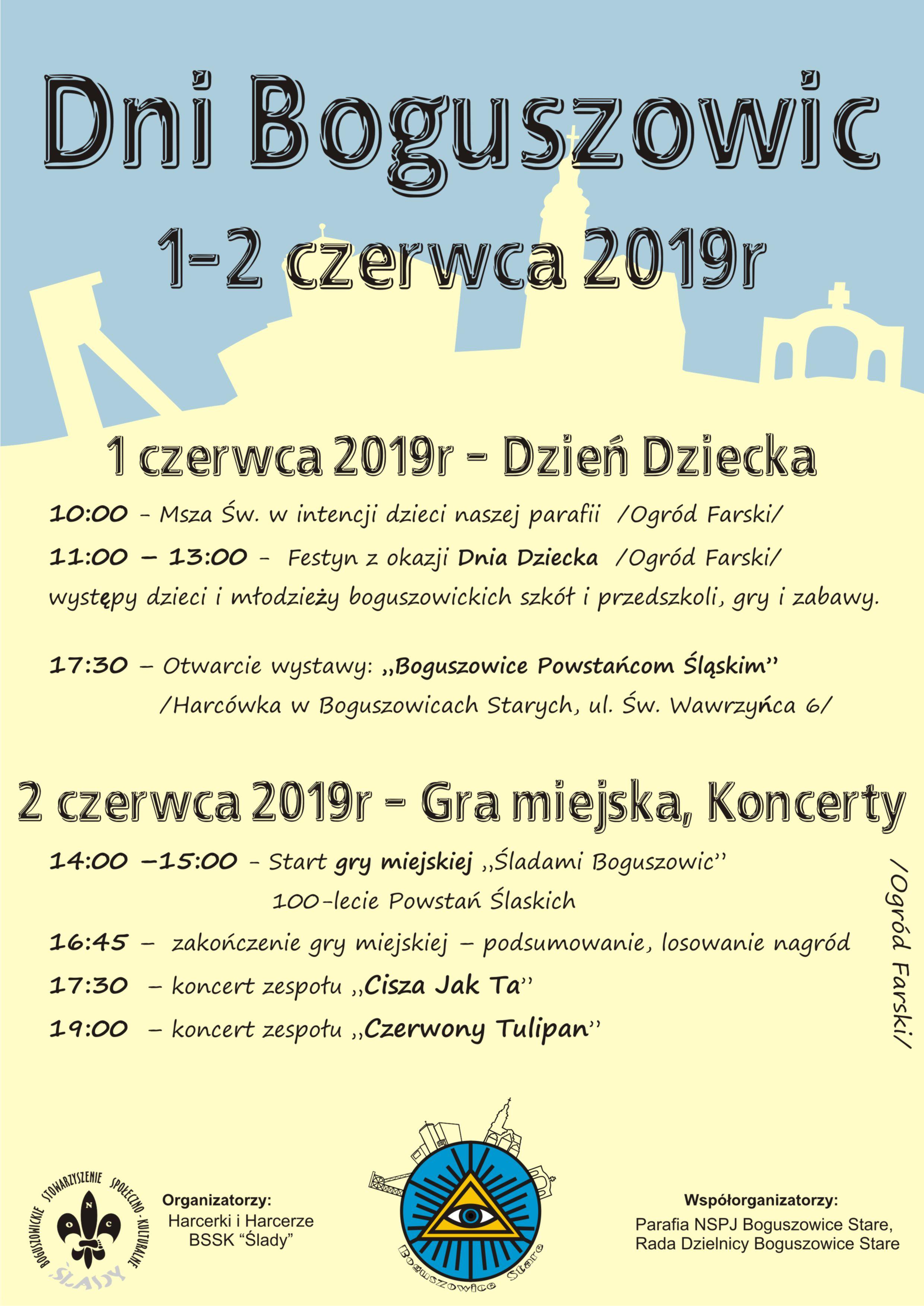 """""""Dni Boguszowic"""" 1 – 2 czerwca 2019"""